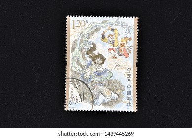 CHINA - CIRCA 2019: A stamps printed in China shows 2019-6 Journey to the West (3) - One of China's Famous Classical Literary Works  (4-1), Monkey Subdues the White-bone Demon, 120 fen, 38 * 50 mm, ci