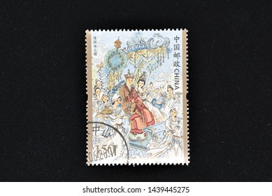 CHINA - CIRCA 2019: A stamps printed in China shows 2019-6 Journey to the West (3) - One of China's Famous Classical Literary Works (4-4), Escape from the Kingdom of Women, 150 fen, 38 * 50 mm, circa
