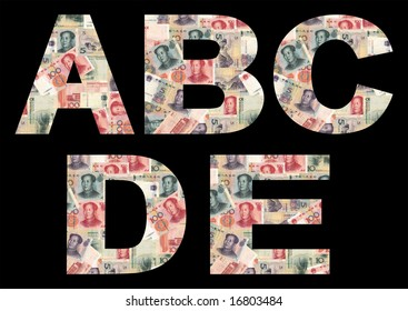China currency font on black part one illustration