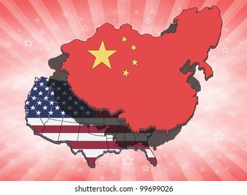 China dominating and overshadowing the USA. Conceptual illustration.
