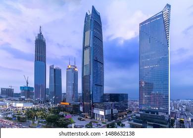 China Dongguan Nancheng CBD night city scenery