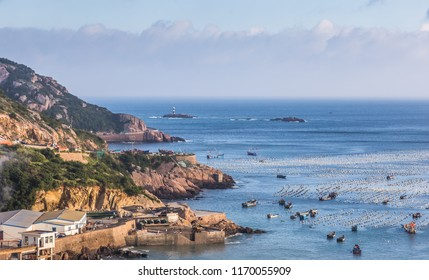 China East China Sea Zhejiang Zhoushan Islands Yudao fishery and fishing boat skyline scenery