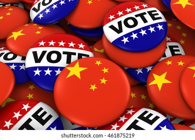 China Elections Concept - Chinese Flag and Vote Badges 3D Illustration