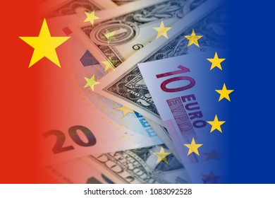 china and eu flags with euro and dollar banknotes mixed image