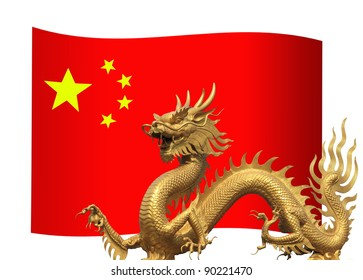 China Flag with golden dragon