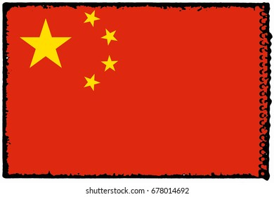 China flag grunge background. Background for design in country flag
