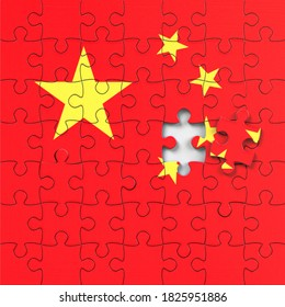 China flag made with jigsaw puzzle pieces. A jigsaw puzzle with a print of the flag of China. Flag symbols of China.  Coronavirus epidemic concept.