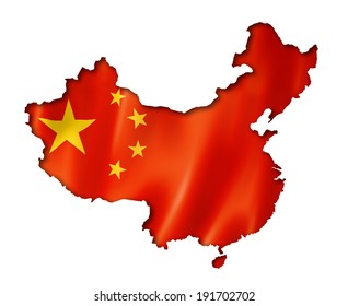 China flag map, three dimensional render, isolated on white