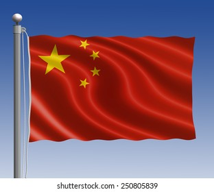 China flag in pole on blue sky background