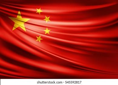 China flag of silk -3D illustration