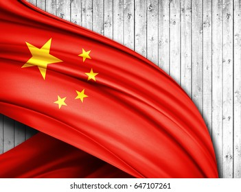 China  flag of silk with copyspace for your text or images and wood  background -3D illustration