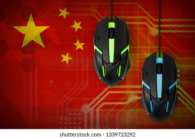 China flag  and two mice with backlight. Online cooperative games. Cyber sport team