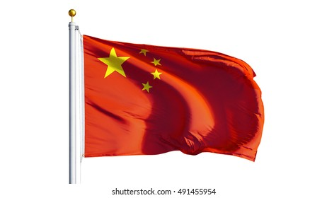 China flag waving on white background, close up, isolated with clipping path mask alpha channel transparency