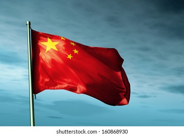 China flag waving on the wind
