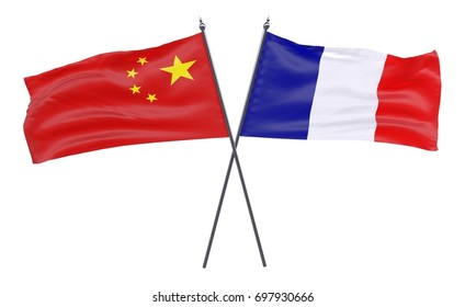 China and France, two crossed flags isolated on white background. 3d image