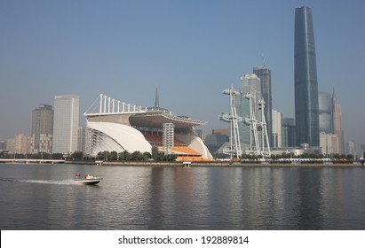 CHINA, GUANGZHOU - 19 NOVEMBER 2012. Guangzhou is the capital and largest city of Guangdong province. Towers in Guangzhou on Pearl river
