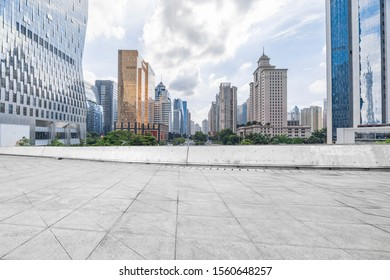 China Guangzhou city skyline ground background