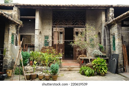 China Guangzhou - July 8, 2013: Aged Traditional home building in countryside of Guangzhou in China. Interior of Ancient village house in GuangDong, GuangZhou, China