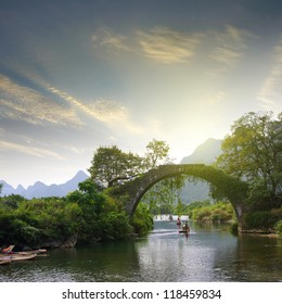China Guilin Yangshuo Bridge Sunset
