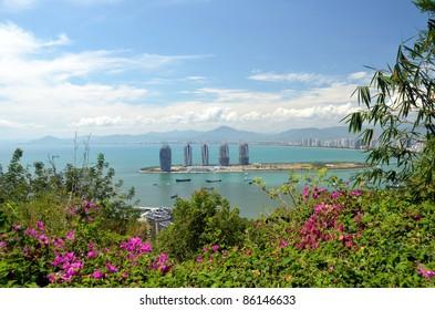China Hainan island, city of Sanya aerial view, may 2011