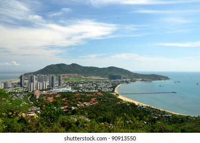 China Hainan island, city of Sanya, aerial view on man-made island in the form