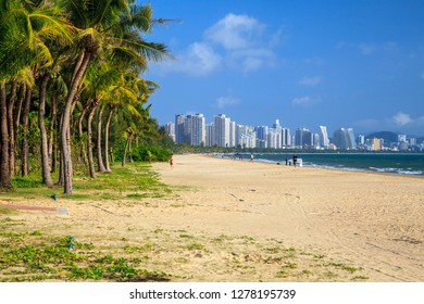 China, Hainan Island, Pheonix Island  - December 2, 2018: Panorama of Sanya City Bay, editorial