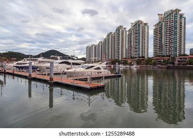 China, Hainan Island, Sanya bay - December 2, 2018: day view of Sanya city, view from the bridge to the bay, editorial