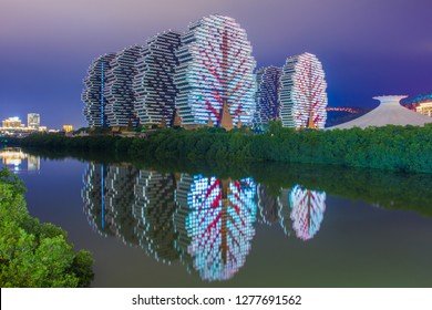 China, Hainan Island, Sanya bay - January 1, 2019. Luxury vacation on tropical islands. 7-star hotel Sanya Beauty Crown was included in the Guinness Book of Records as the world's largest hotel .
