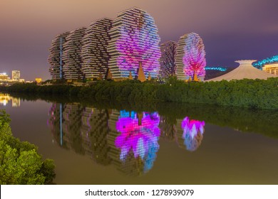 China, Hainan Island, Sanya bay - January 3, 2019. luxury hotel in which an annual competition is held- Miss of the World. 7-star hotel Sanya Beauty Crown was included in the Guinness Book of Records