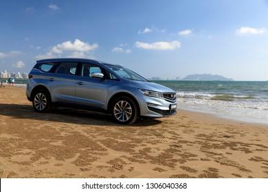 China, Hainan Island, Sanya bay - December 2, 2018: Sanya  city. New Chinese minivan Geely Jiaji editorial.