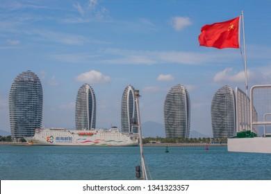 China, Hainan Island, Sanya bay - January 2, 2019.Beautiful Sanya Bay and Phoenix Island, is a landmark Sanya.