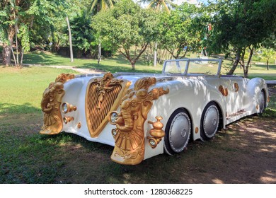 China, Hainan Island, Sanya, - December 3, 2018: Park Edge of the World,White Cadillac Convertible for Wedding Ceremonies, editorial.