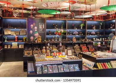 China, Hainan Island, Sanya - December 1, 2018: Chinese Sanya Central Market No. 1, Chinese souvenirs, crafts from jade, dolls, stones, editorial.