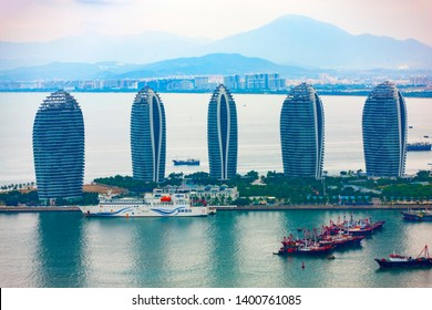 China, Hainan Island, Sanya - November  12, 2017 : Aerial view of Sanya city and Dadonghai bay from Luhuitou Park in Hainan province, China.