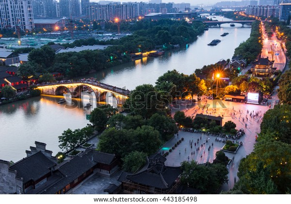 CHINA, Hangzhou - JUN 23: The Grand Canal, a UNESCO World Heritage Site, is the longest artificial river in the world and a famous tourist destination on JUNE 23, 2016 in hangzhou, China.
