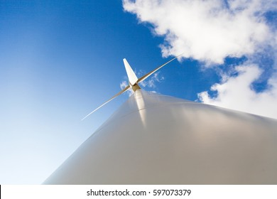 China Hebei Bashang grassland no empty scenery blue sky and white clouds wind turbines look white