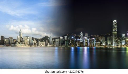 China Hong Kong Day and Night