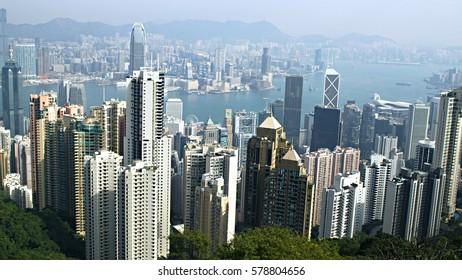 CHINA, HONG KONG - DECEMBER 29, 2016: Victoria Peak (552 m) is the most important sightseeing point at Hong Kong Island