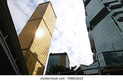 CHINA, HONG KONG - DECEMBER 29, 2016: The facade modern building in central Hong Kong.