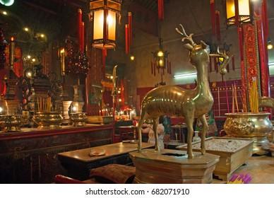 China, Hong Kong, Interior view of Hollywood Road Man Mo Temple.