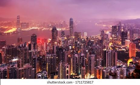 China - Hong Kong panorama at night