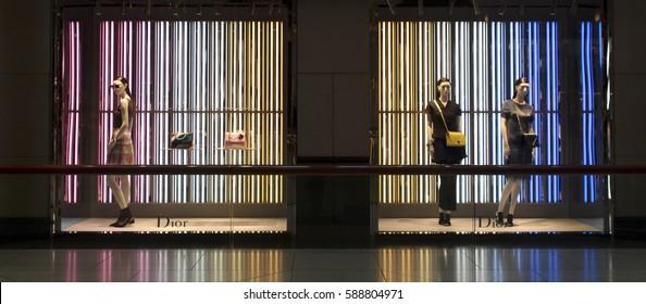 CHINA, HONG KONG-JANUARY 15. 2016: Showcases luxury shops in the center of Hong Kong