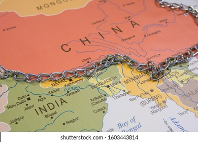 China and India border line with a chain on world map