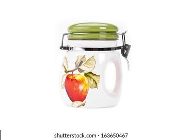 China jar whit aple theme  isolated on white background