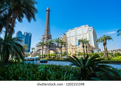 China, Macau - September 10 2018 - Beautiful eiffel tower landmark of parisian hotel and resort in macau city