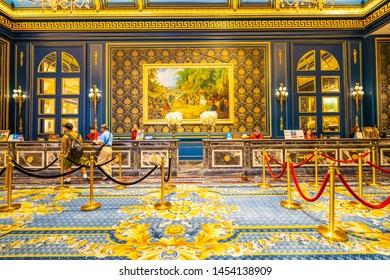 China, Macau - September 10 2018 - Beautiful luxury interior of parisian hotel resort and casino