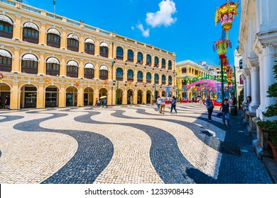 China, Macau - September 6 2018 - Beautiful old architecture building around senado square in macau city