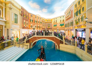 China, Macau - September 8 2018 - Beautiful luxury venetian hotel resort and casio with shopping mall in macau city