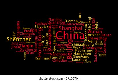 China main cities with the flag colors info-text graphics and arrangement word clouds illustration concept.