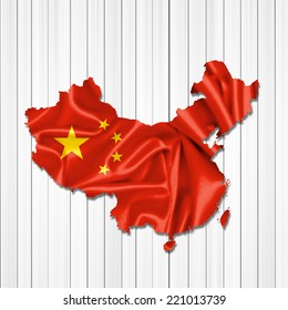 China map of fabric and wood background